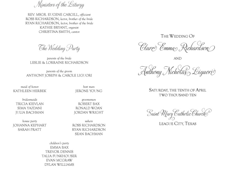 Catholic Wedding Program Out Mass Template - ArtCardBook.com ...