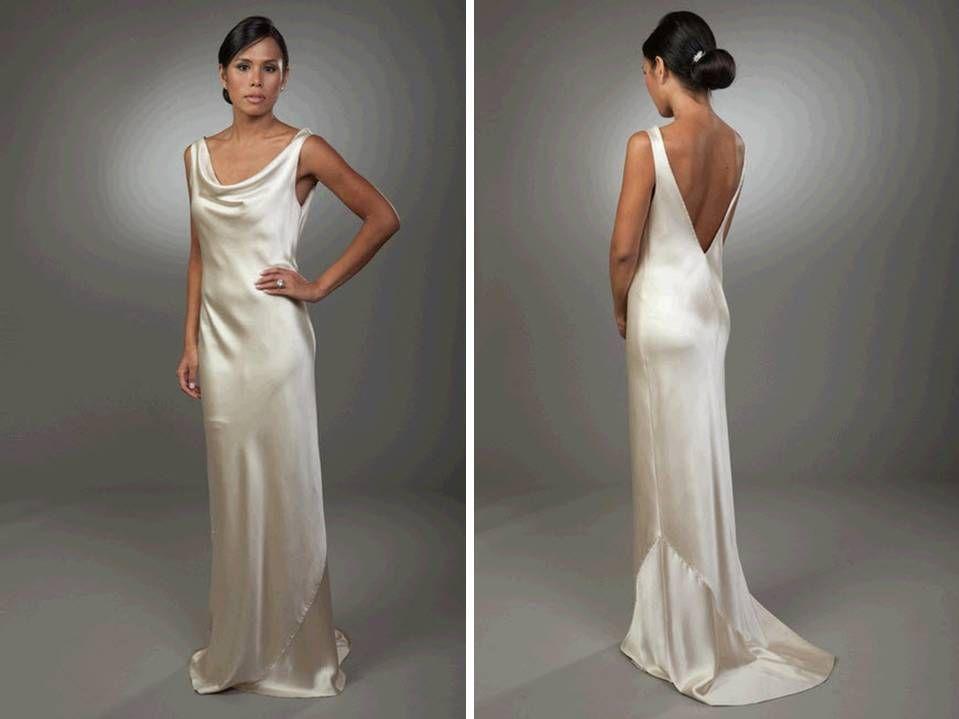 ArtCardBook Wedding Ideas: Sleek Column Silk Wedding Dress Open Back ...