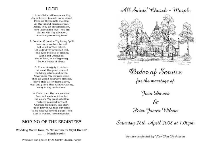 Wedding Order Service Example