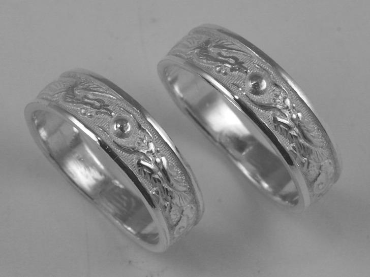 wedding rings sterling silver dragon phoenix band set