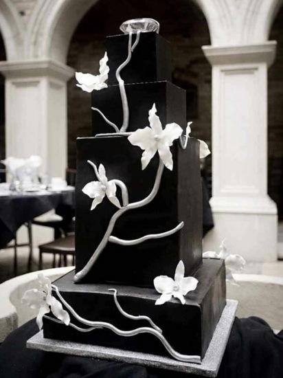 white and more black square wedding cake