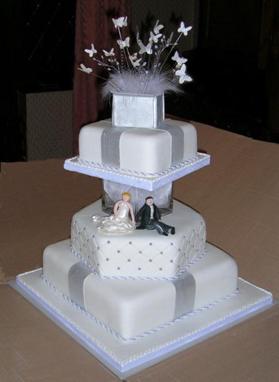 white and silver cake for wedding