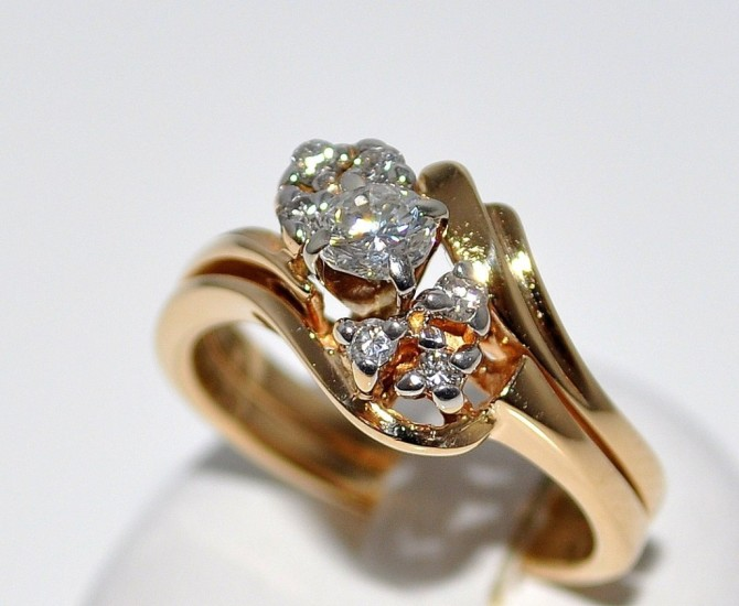 women wedding set attached together engagement ring band